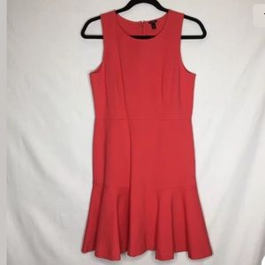 J Crew Coral Fit Flare Sleeveless Dress